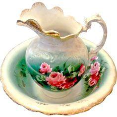 victorian wash basin and pitcher | ... SALE Vintage Ardels Pitcher and Wash Basin. Purple and White Pansies