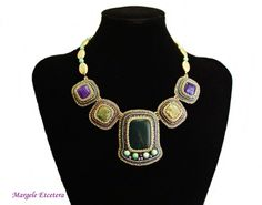 Azteca - bead embroidery necklace with agate and jasper