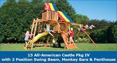 15_All-AmericanCastlePkgIV2PosSB/ Deck Height 5' / Made in USA www.mykidsrainbow.com