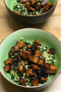 Green Gourmet Giraffe: Teriyaki tofu with brown rice and kale and Sylvia's dinners