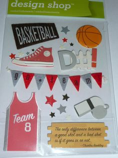 """The Only difference between a good shot and a bad shot is if it goes in or not."" Perfect quote to use for your scrapbooking layout! BASKETBALL DEFENSE Making Memories by ExpressionsofFaith on Etsy, $3.39"