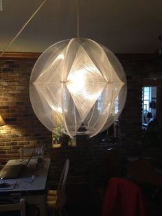 Vintage Clear Lucite Woven String Swag Hanging Ceiling Lamp Mid-Century