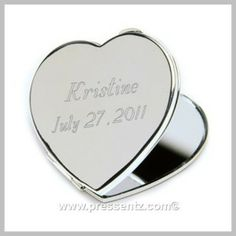 Personalized Heart Mirror Compact- Love and vanity: how does the saying go? Intertwine the two with this sterling silver-plated heart shaped mirror, personalized on top, creating a keepsake gift to remember your special celebration by. Personalized Teacher Gifts, Personalized Bridesmaid Gifts, Personalized Jewelry, Monogram Gifts, Quinceanera Dresses, Quinceanera Ideas, Heart Mirror, Gifts For Wedding Party, Party Gifts