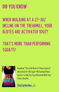 Did you know: When walking at a 27-30% incline on the treadmill, your glutes are activated 100%? That's more than performing squats! - Get 365 super-motivating fitness quotes to help you stay motivated with your fitness goals: http://www.urbanewomen.com/fitness-book