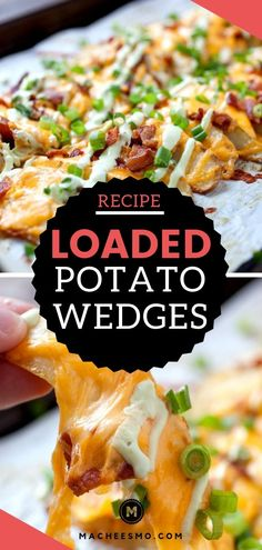 Loaded potato Wedges - Baked and Crispy. These wedges feature all the things you love, cheese and toppings galore. ~ Macheesmo appetizers potato Loaded potato Wedges - Baked and Crispy ~ Macheesmo Potato Appetizers, Appetizer Recipes, Dinner Recipes, Potato Wedges Baked, Homemade Potato Wedges, Potato Wedges Recipe, Loaded Potato, Crispy Potatoes, Potato Recipes