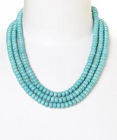 Love this Turquoise Three-Row Bib Necklace on #zulily! #zulilyfinds
