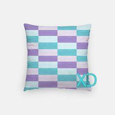 Rectangles Pillow, Teal Blue Pillow Cover, Lilac Pillow Case, Purple, Blue Pillow, Artistic Design, Home Decor, Decorative Pillow Case, Sham