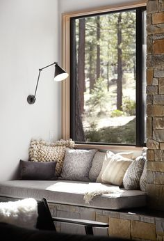 Mountain retreat blends rustic-modern stylincozy and rustic reading nook / farmh. Mountain retreat blends rustic-modern stylincozy and rustic reading nook / farmhouse decor / rustic home decor / reading nook decor ideasg in Martis Camp Retro Home Decor, Home Decor Kitchen, Home Decor Bedroom, Living Room Decor, Rustic Kitchen, Dining Room, Modern Rustic Office, Modern Rustic Decor, Rustic Art
