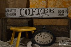 Hand Painted Vintage Coffee Sign - Roasted & ground Coffee Beans - Coffee Shop Signs - Cafe Signs - Custom Order Signs - Church Street Designs
