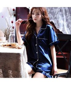 short sleeves two pieces luxury Satin Pajama sets 16711561c