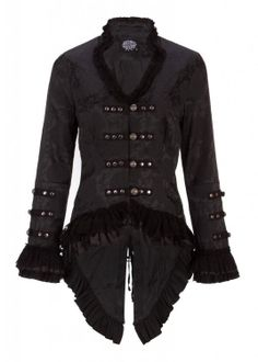 Get some goth added to your steamy outfit. Check this jacket out!  http://steampunkclothingace.com/victorian-jacket/  #steampunk #goth #black #victorian