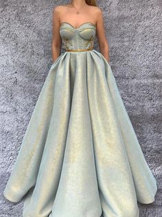 Ball Gowns Prom, A Line Prom Dresses, Ball Gown Dresses, Dress Up, Corset Prom Dresses, Jade Dress, Gold Dress, Summer Dresses, Formal Prom Dresses