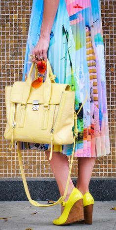 Only the purse! Fashion Beauty, Womens Fashion, Fashion Fashion, Clover Canyon, Top To Toe, Weather Wear, Wild Hair, Kinds Of Clothes, Mellow Yellow