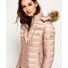 Luxe Fuji Double Zip Hooded Jacket ($150) ❤ liked on Polyvore featuring outerwear, jackets, double zip jacket, fuji, double zipper jacket, hooded jacket and pink jacket