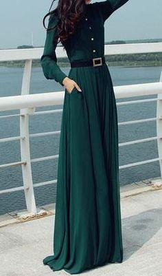 Army Green Maxi Dress - VIVIMARKS