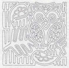 Mola Retro Owl Quilting Square (Single Run)
