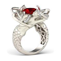 Cushion Cut Ruby Rhodium Plated Sterling Silver Mermaid Engagement Ring