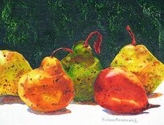 Pears Fruit Art Print of Original Painting by BarbaraRosenzweig, $52.00