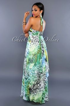 Chic Couture Online - Avani Green Multi-Color Print Halter Maxi Dress, (http://www.chiccoutureonline.com/avani-green-multi-color-print-halter-maxi-dress/)