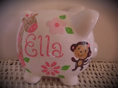 Personalized Hand Painted Piggy Bank With Girl by thepaintedpiggy, $30.00