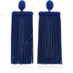 Oscar de la Renta Waterfall Tassel Silk Earrings (12 940 UAH) ❤ liked on Polyvore featuring jewelry, earrings, blue, tassle earrings, silk tassel earrings, clip back earrings, blue statement earrings and tassel earrings