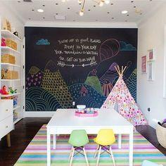 Playroom perfection - that chalkboard wall is too much fun! via @steelestreetstudios