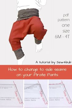have been asked a few times lately if it is possible to make our Pirate Pants Pattern or our Free baby harem pants pattern with the seam at the side of the leg in stead of the center front and back…
