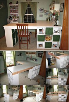 craft table with storage diy - craft table with storage . craft table with storage work stations . craft table with storage small spaces . craft table with storage ikea hacks . craft table with storage diy Diy Crafts Desk, Craft Desk, Diy Desk, Craft Space, Craft Art, Craft Tables With Storage, Craft Room Storage, Room Organization, Desk Storage