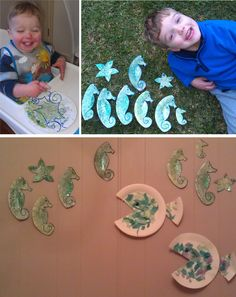 Both kids were able to do this craft. I drew the 3 seahorses and a starfish on a paper plate each, and they sponge painted, then sprinkled with glitter (Thomas did this bit for his little brother). When dry, I cut them out and we stuck gem stickers on the eyes. Strraight to the new aquarium wall!