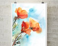 Poppies art print, orange poppies, fine art print of flowers, watercolour painting floral wall art