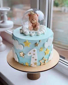 YAYY or NAH? Love the bear in the bubble! It's so cute agree? - What do you think? - Start to bake with Toddler Birthday Cakes, Boys First Birthday Cake, Gateau Baby Shower Garcon, Beautiful Birthday Cakes, Baby Girl Cakes, Cute Cakes, Shower Cakes, Cake Designs, Cake Toppers