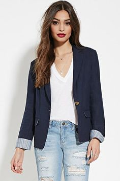 Striped-Trim Linen Blazer | Forever 21 - 2000150061
