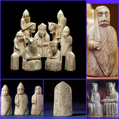 The chess pieces consist of elaborately worked walrus ivory and whales' teeth in the forms of seated kings and queens, mitred bishops, knights on their mounts, standing warders and pawns in the shape of obelisks. They were probably made in Norway, about AD 1150-1200. At this period, the Western Isles, where the chessmen were buried, were part of the Kingdom of Norway, not Scotland. It seems likely they were buried for safe keeping on route to be traded in Ireland.