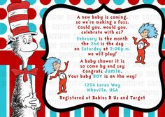 FAVORITE WORDING ~ Dr Seuss Cat in the Hat Baby Shower Invitation  by PinkTurtleShop, $11.00