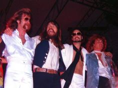 Bob Seger, second from left, and members of the Silver Bullet Band, on stage during a concert at Bay City Central High School's Elmer Engel Stadium.