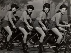 """Sweet Rosie O'Grady"" chorus girls ride a bike.Sweet Rosie O'Grady Twentieth Century Fox 1943"