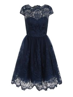 Navy with Tonal Embroidered Mesh Detailing  Padded Bust Fully Lined Tea Dress Midi Length Mesh Underskirt Length From Side Seam: 32inchs / 82cms Material: 100% polyamide