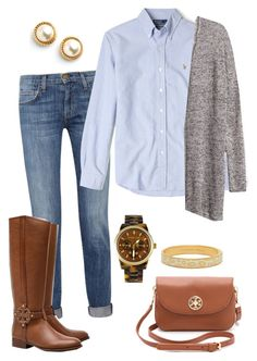 """""""Fall is upon us"""" by pinkprep37 ❤ liked on Polyvore featuring Current/Elliott, Tory Burch, Polo Ralph Lauren, Kate Spade, Michael Kors and H&M"""