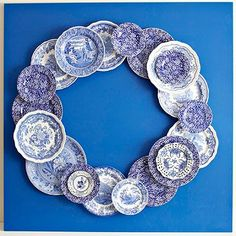 Place Setting Blue Plate Wreath- I wonder how Goodwill China finds would look ...outside?