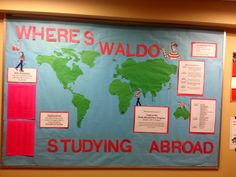 Our October RA bulletin board: Where's Waldo & Study abroad themed! So proud :) #reslife