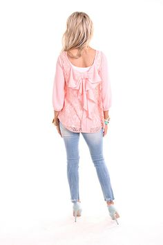 Lime Lush Boutique - Peach Bow Lace Blouse, $27.99 (http://www.limelush.com/peach-bow-lace-blouse/)