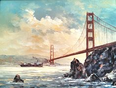 Oil painting of Golden Gate bridge by Peter B., 1980's by tlgvintageart on Etsy