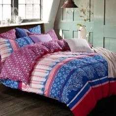 Beautiful Blue and Red Color Floral Patterns Kintting Bedding Sets with Fitted Sheet by Beddinginn