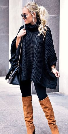 black knit dress and pair of brown suede knee-high boots Winter Boots Outfits, Fall Outfits, Cute Outfits, Fashion Outfits, Brown Boots Outfit Winter, Black Knee High Boots Outfit, Suede Knee High Boots, Winter Dresses With Boots, Camel Boots