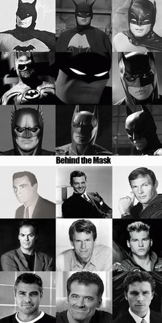 The evolution of Batman - Lewis Wilson 1943, Robert Lowery 1949, Adam West 1966, Michael Keaton 1989, Kevin Conroy, Val Kilmer, George Clooney, ? Christian Bale