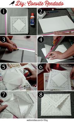 Aprenda como fazer convites de casamento usando toalha de papel rendada e papel craft.
