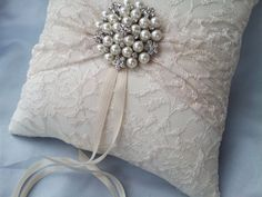 Ivory Ring Bearer Pillow Lace Ring Pillow Pearl Rhinestone Accent on Etsy, $39.00