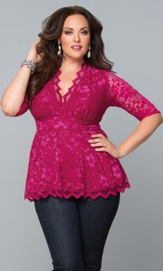 Add a touch of romance to your look with the classic Linden Lace Top from Kiyonna Clothing. Get this lace top and other stylish options for your wardrobe now. Sexy Outfits, Night Outfits, Girl Outfits, Plus Size Dressy Tops, Plus Size Dresses, Plus Size Outfits, Curvy Women Fashion, Plus Size Fashion, Cocktail Outfit