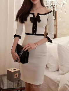 Ericdress Ladylike Slash Neck Robe Robe de gaineYou can find Sheath dresses and more on our website. Mode Outfits, Office Outfits, Dress Outfits, Fashion Outfits, Dress Fashion, Cheap Dresses, Cute Dresses, Beautiful Dresses, Casual Dresses