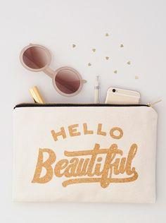 Hello Beautiful sparkly glitter pouch!